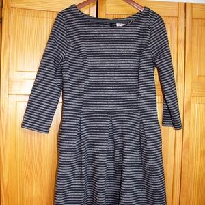 Merona Black & Grey Striped 3/4 sleeve dress